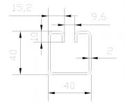 "Lemovací profil ocelový ""WG40-9,6"", drážka 9,6 mm, rozměr 2,0 x 40 x 40 x 3000 mm"