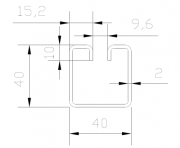 "Lemovací profil ocelový ""WG40-9,6"", drážka 9,6 mm, rozměr 2,0 x 40 x 40 x 3100 mm"