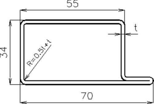 Lemovací profil_70x34x552_6000 mm