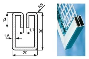 "Lemovací profil ""E"" ocel S235JR / drážka 1.70 mm / 1.50 x 20.00 x 30.00 x 3000.00 mm"